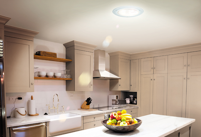 Modern Kitchen brightened by a Solatube skylight