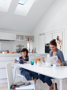 Family living with Velux in Kitchen area