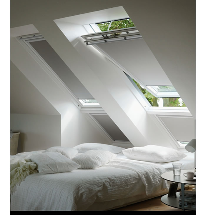 Velux Opening Skylights with BlockOut Blinds In Bedroom