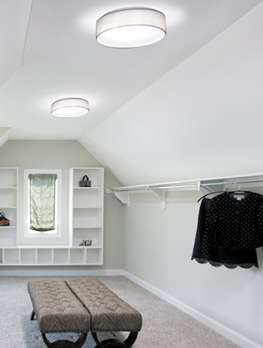Attic Dressing Room Lit by 2x Solatube Skylights