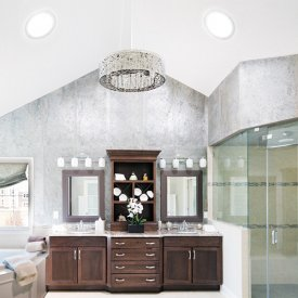 Gorgeous Bathroom lit by two Solatube Skylights